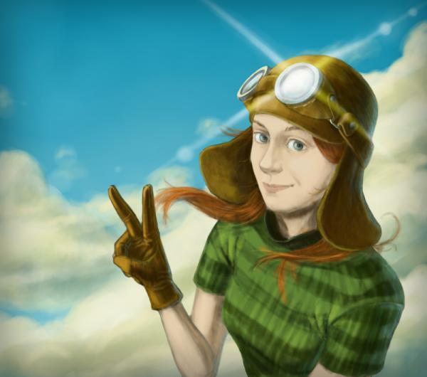 Девушка в вязаном, летном шлеме)