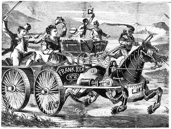 Электрическая лошадь соревнуется в скорости с Паровым человеком