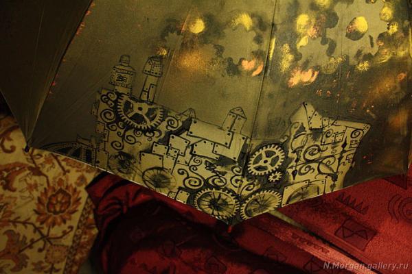 Стрекоза. Зонт с авторской росписью. (Фото 4)
