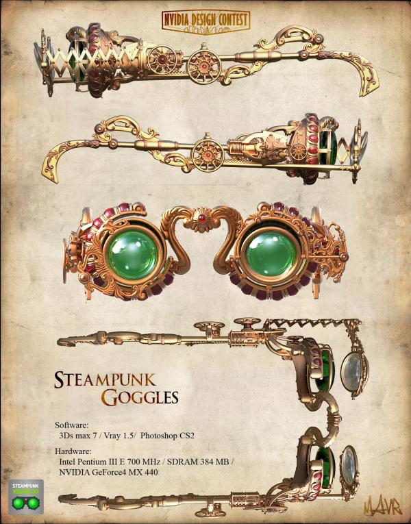 3D Steampunk goggles.