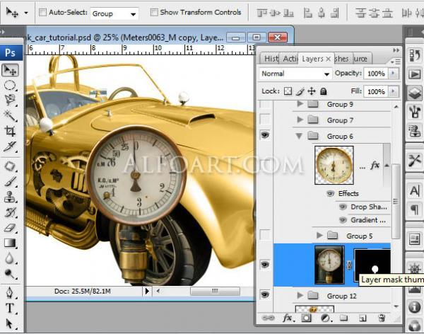 Золотой автомобиль в стиле стимпанк (Фото 18)