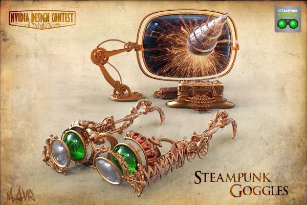 3D Steampunk goggles. (Фото 2)