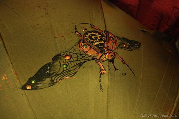 Стрекоза. Зонт с авторской росписью. (Фото 3)