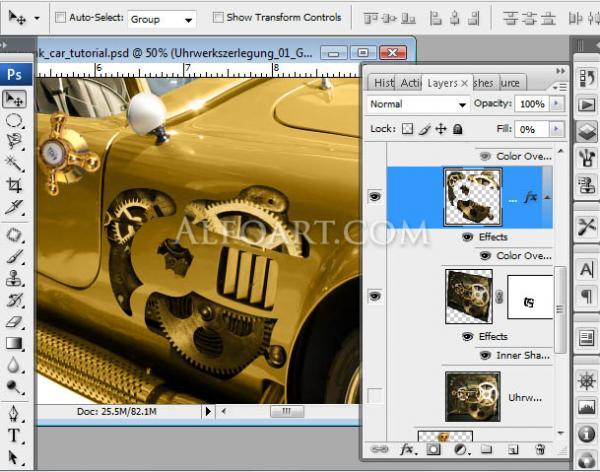Золотой автомобиль в стиле стимпанк (Фото 14)