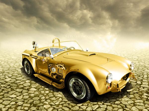 Золотой автомобиль в стиле стимпанк