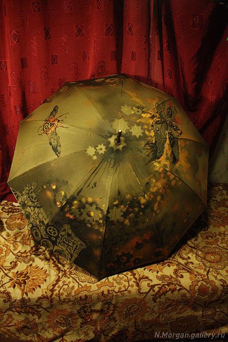 Стрекоза. Зонт с авторской росписью. (Фото 2)